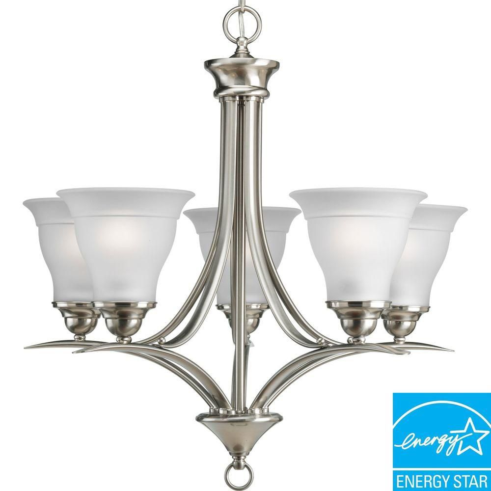 Lustre à 5 Lumières, Collection Trinity - fini Nickel Brossé