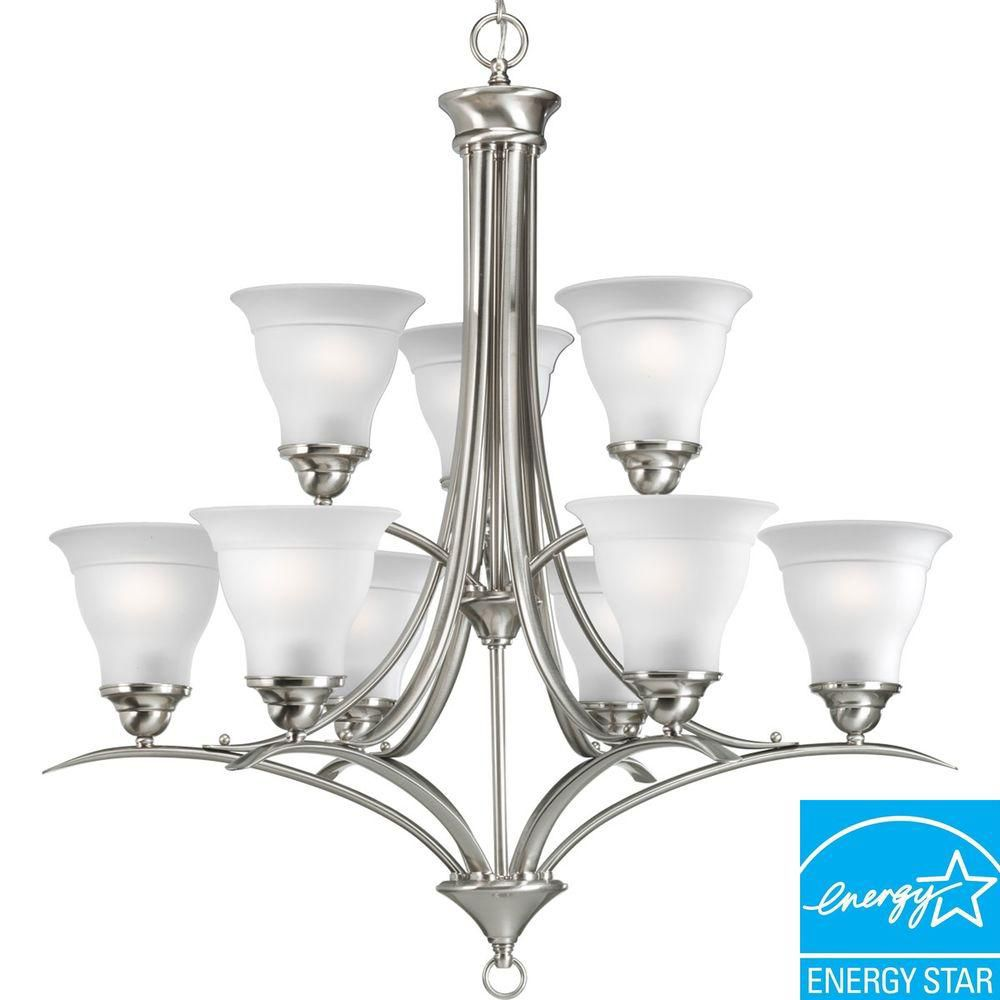 Lustre à 9 Lumières, Collection Trinity - fini Nickel Brossé