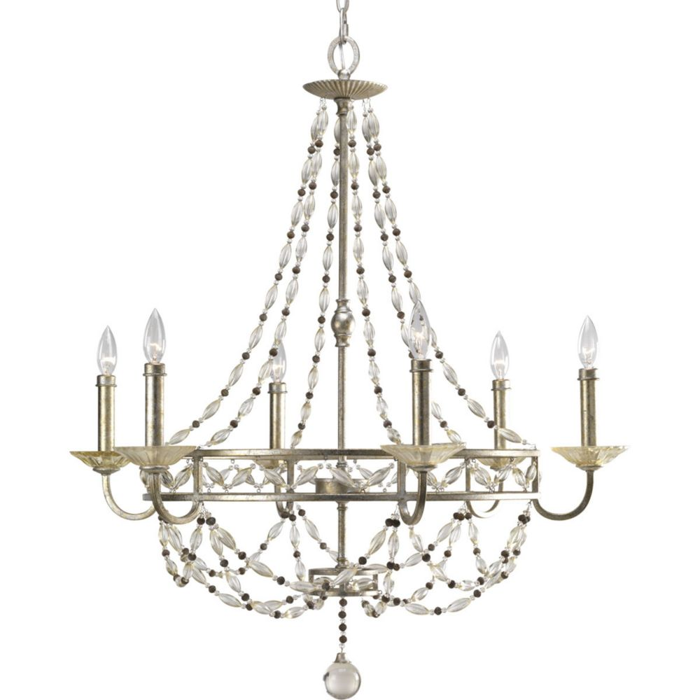 Chanelle Collection Antique Silver 6-light Chandelier