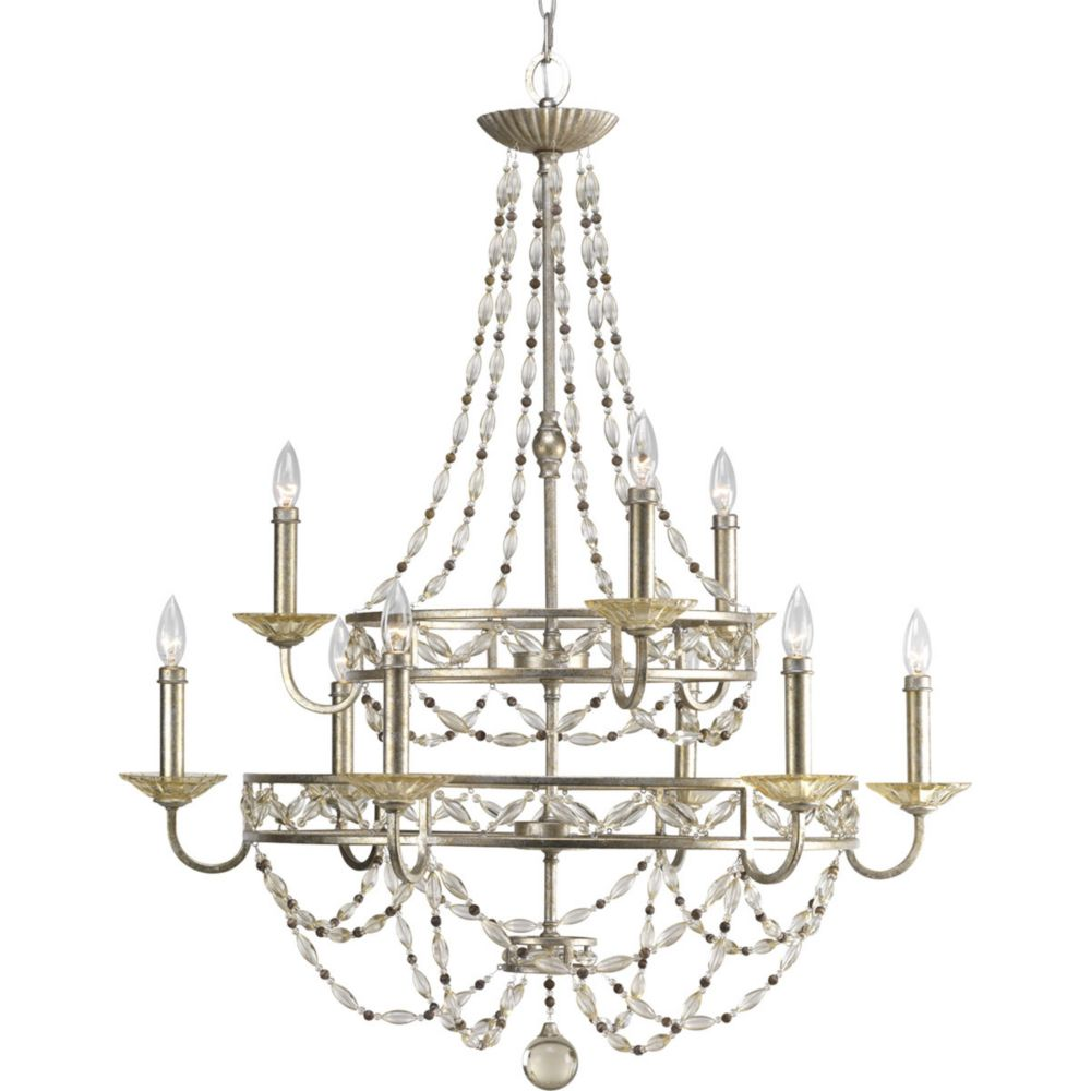 Chanelle Collection Antique Silver 9-light Chandelier