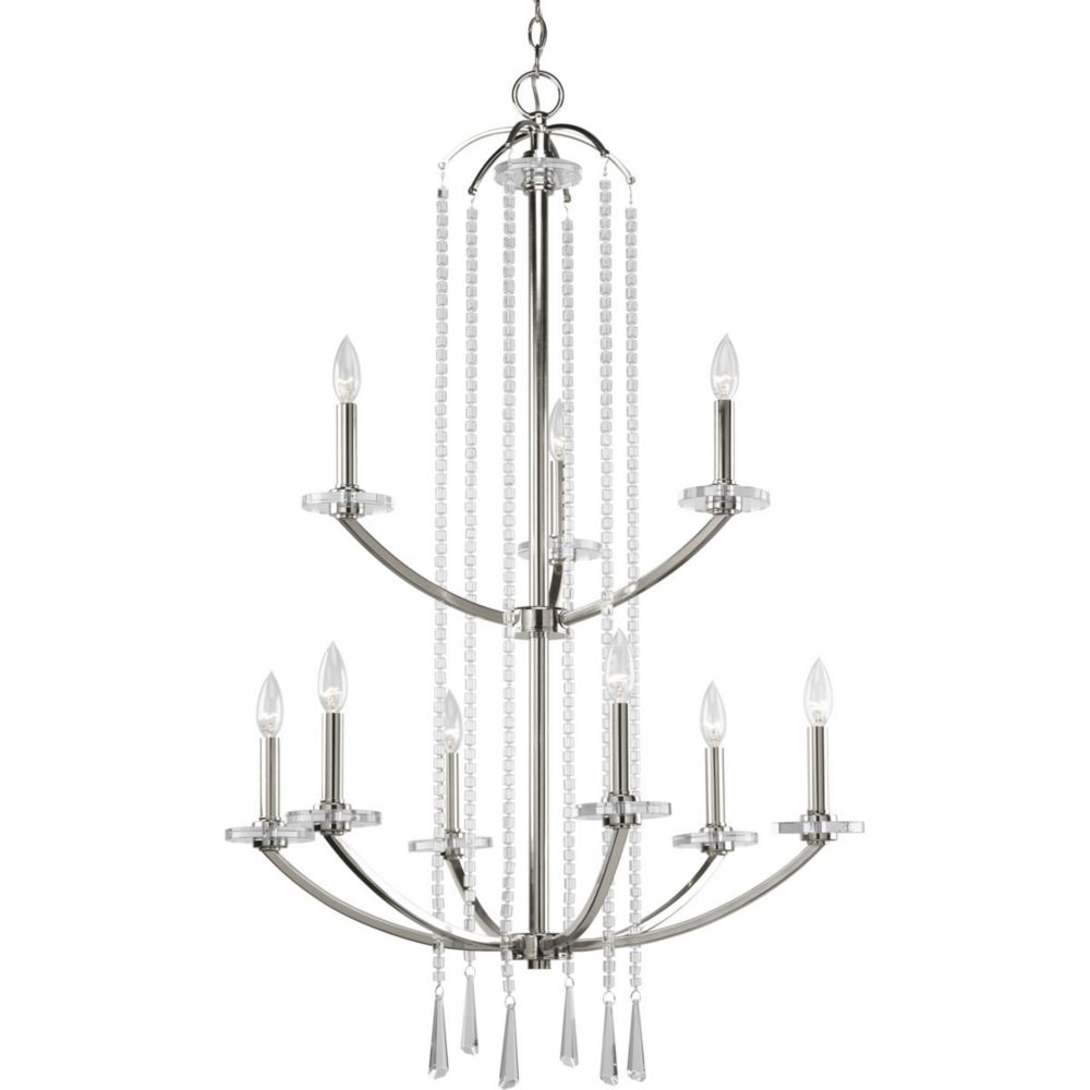 Nisse Collection Polished Nickel 9-light Chandelier