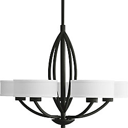 Progress Lighting Calven Collection 30-inch x 23-inch 5-Light Chandelier in Forged Black