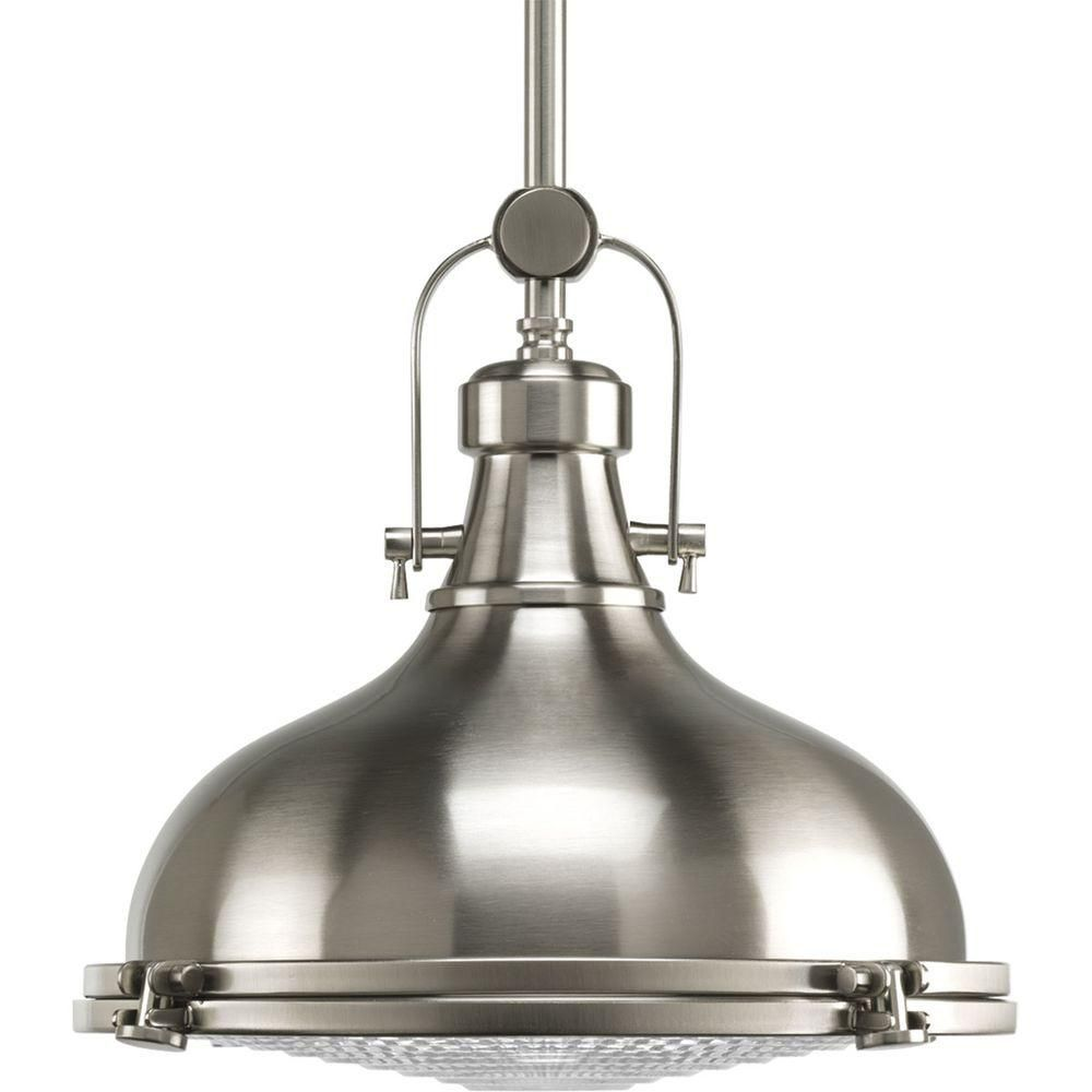 Fresnel Collection 1 Light Brushed Nickel Pendant Light Fixture