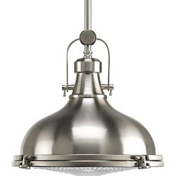 Progress Lighting Fresnel Collection 1-Light Brushed Nickel Pendant Light Fixture