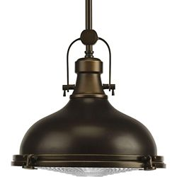 Progress Lighting Fresnel Collection 1-Light Oil Rubbed Bronze Pendant Light Fixture
