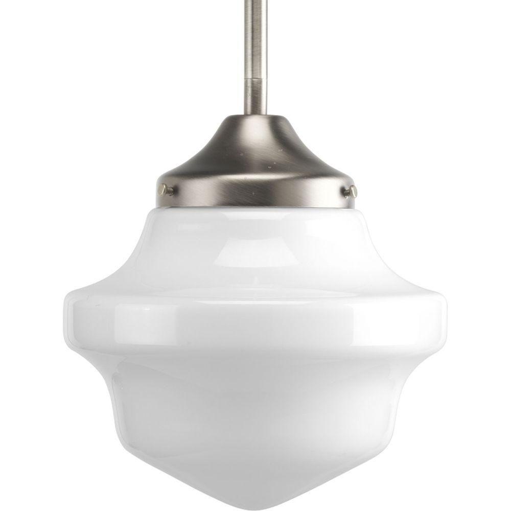 Progress Lighting Schoolhouse Collection 1-Light Brushed Nickel Pendant Light Fixture