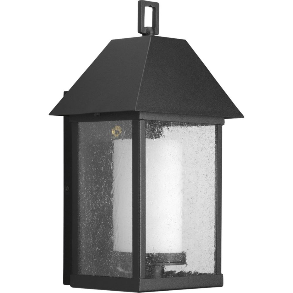 Domino Collection Textured Black 1-light Wall Lantern