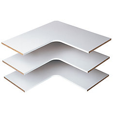 30-inch Classic White Corner Shelf (3-Pack)