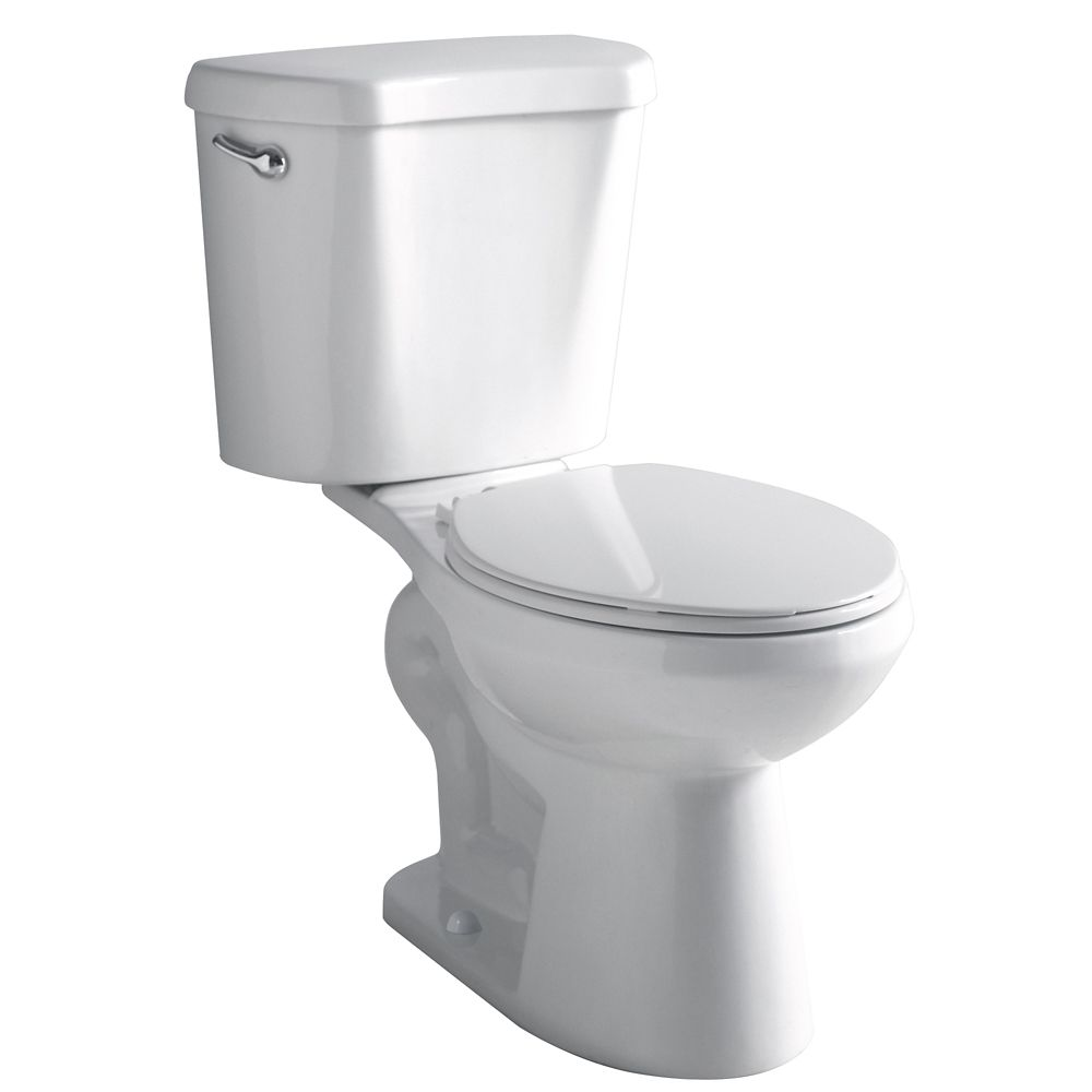 GLACIER BAY 2-Piece 4.8 LPF Single Flush Round Front Bowl Toilet in White