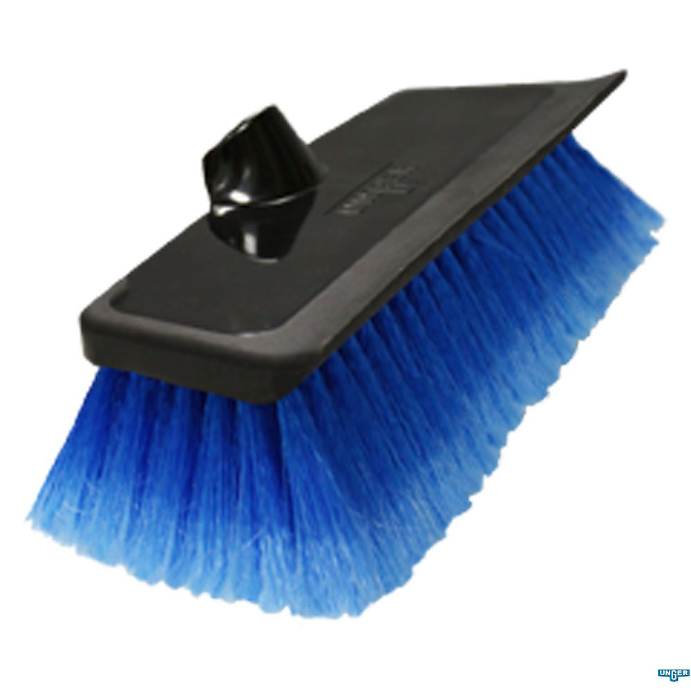 10-inch Water Flow Scrub Brush with Heavy Duty Soft Bristle Rubber Squeegee
