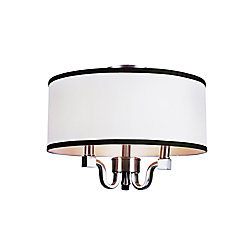 Bel Air Lighting Crystal and Linen Flushmount Light in Brushed Nickel