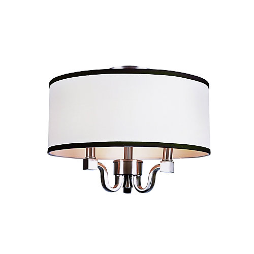 Crystal and Linen Flushmount Light in Brushed Nickel
