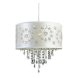 Bel Air Lighting Suspension, abat-jour satin à découpes florales, blanche