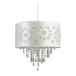Bel Air Lighting Flower Cut Out Satin Shade Pendant in White