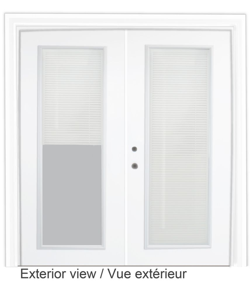 72-inch x 82-inch Righthand Pre-Finished White Steel Garden Door with Interior Mini Blinds