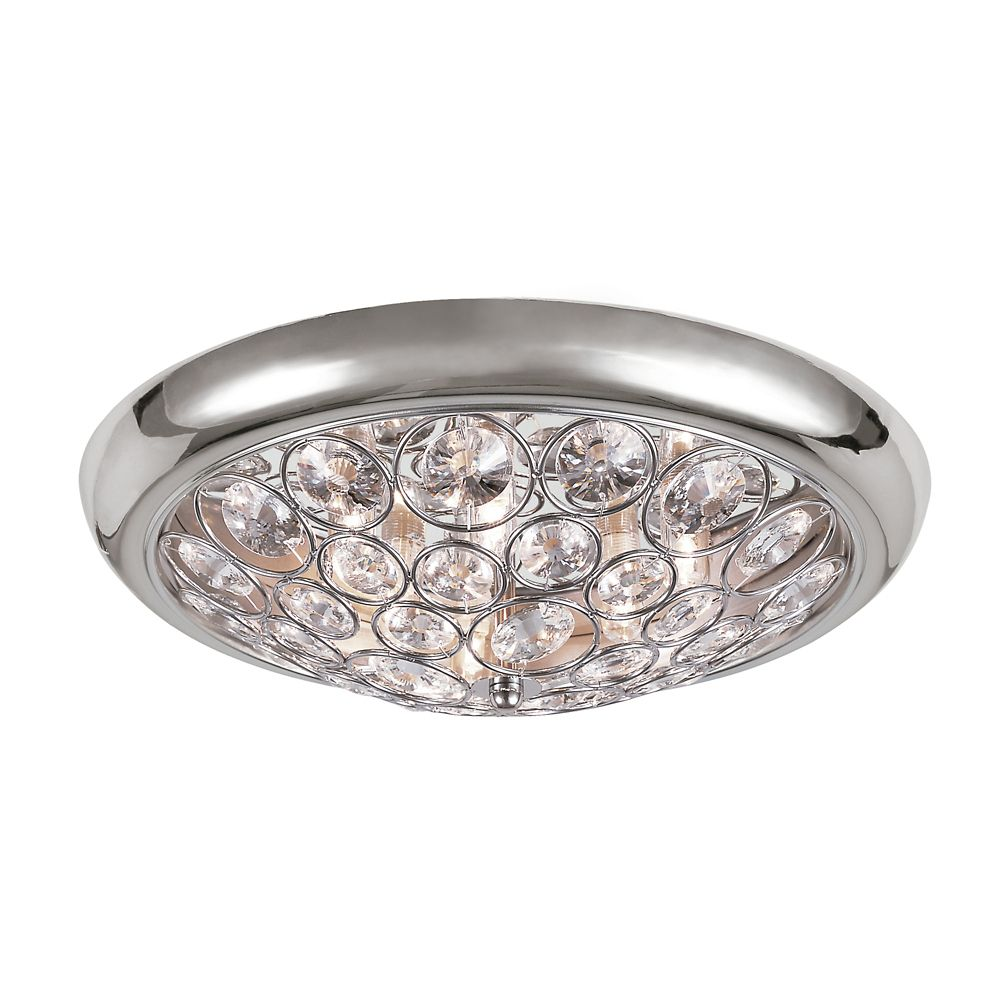 Chrome with Crystal 18 inch Ceiling Fixture