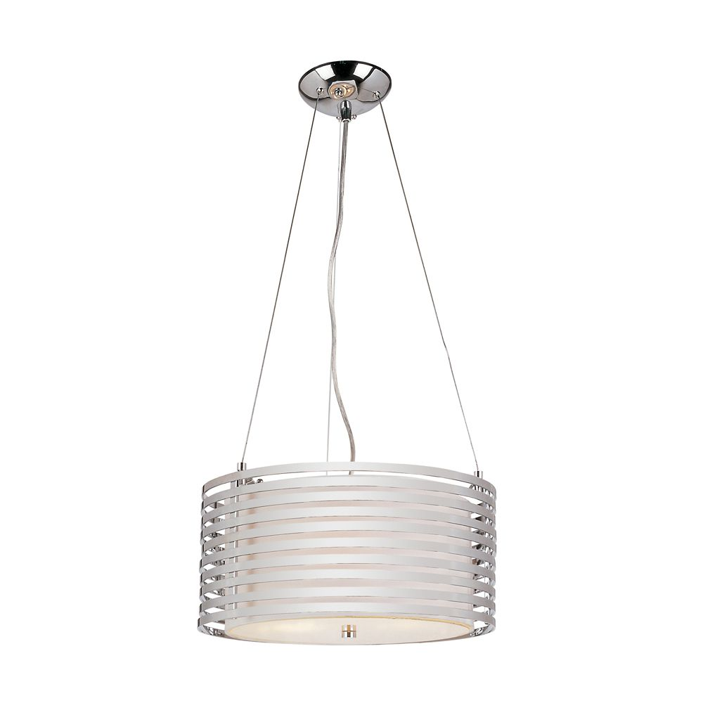 Chrome and Linen Drum Pendant - 16 inch