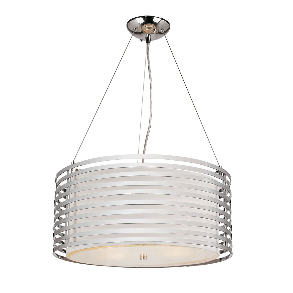 Chrome and Linen Drum Pendant - 20 inch
