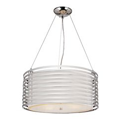 Bel Air Lighting Chrome and Linen Drum Pendant - 20 inch
