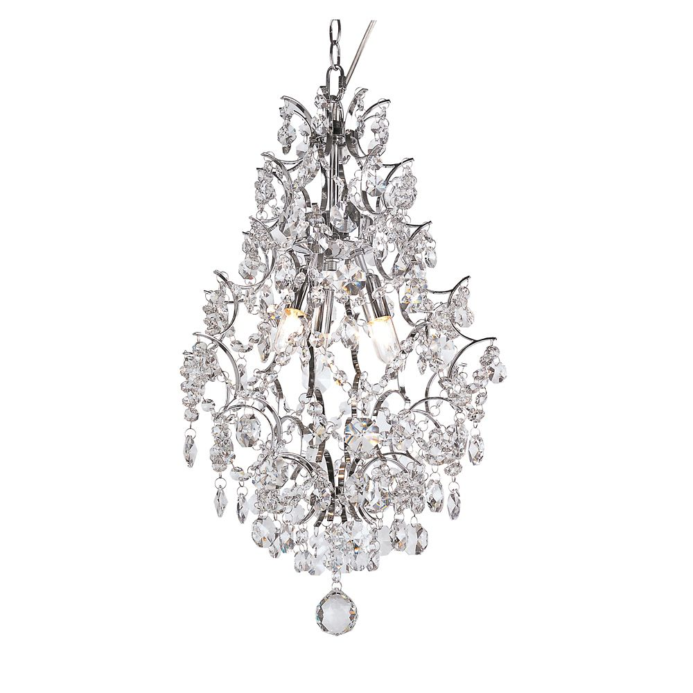 Chrome Stems and Crystal Petals Hanging Pendant