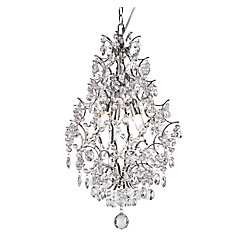 Bel Air Lighting Chrome Stems and Crystal Petals Hanging Pendant
