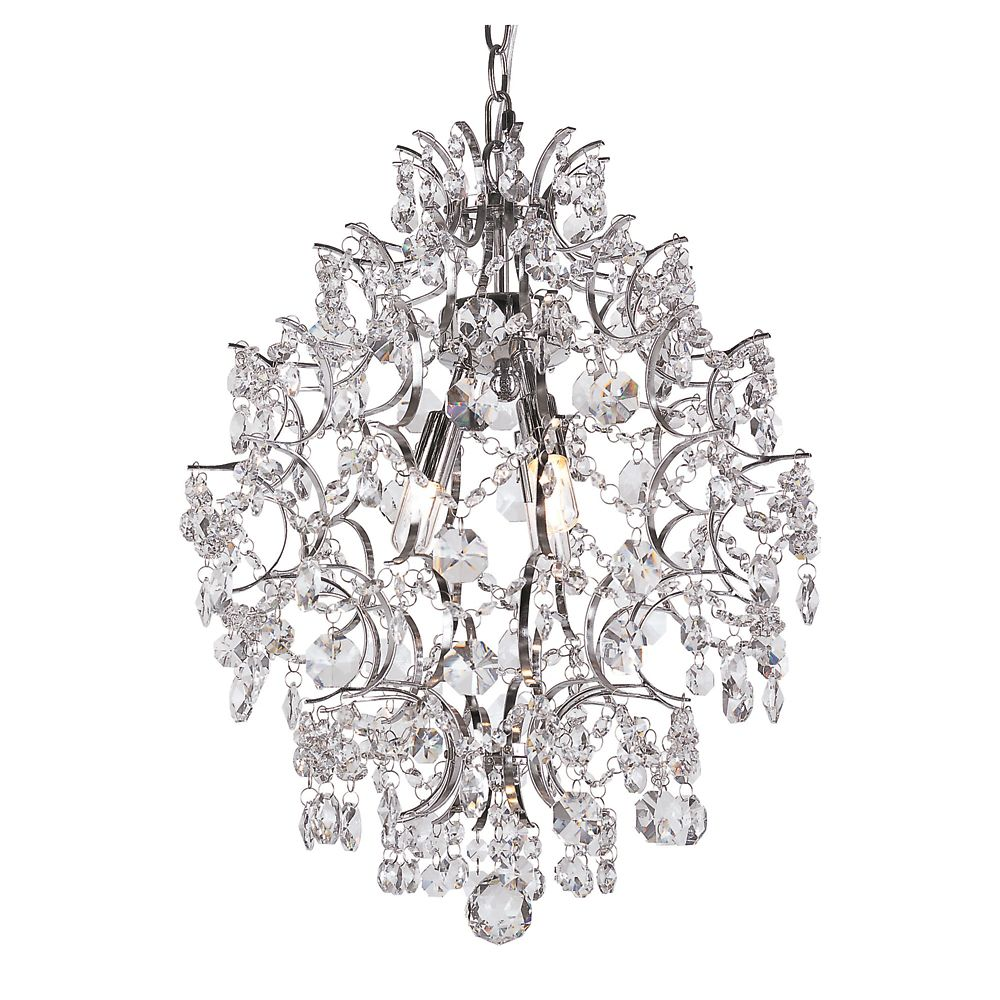 Bel Air Lighting 3-Light 40W Chrome Stems & Crystal Petals Chandelier