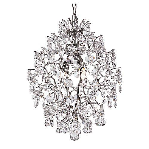 Bel Air Lighting 3-Light 40W Chrome Stems & Crystal Petals Chandelier