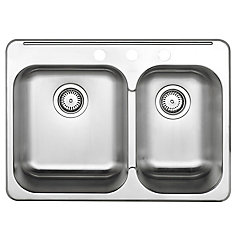1-1/2 Bowl Kitchen Sink in Brushed Stainless Steel