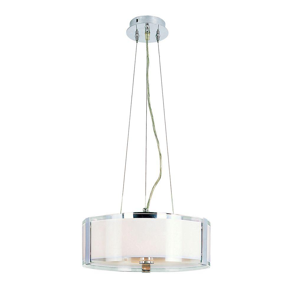 Lampe suspendue réglable, chrome et opale - moyenne
