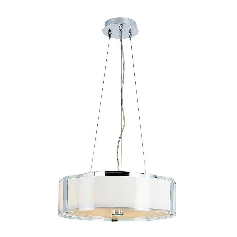 Lampe suspendue réglable, chrome et opale - grande
