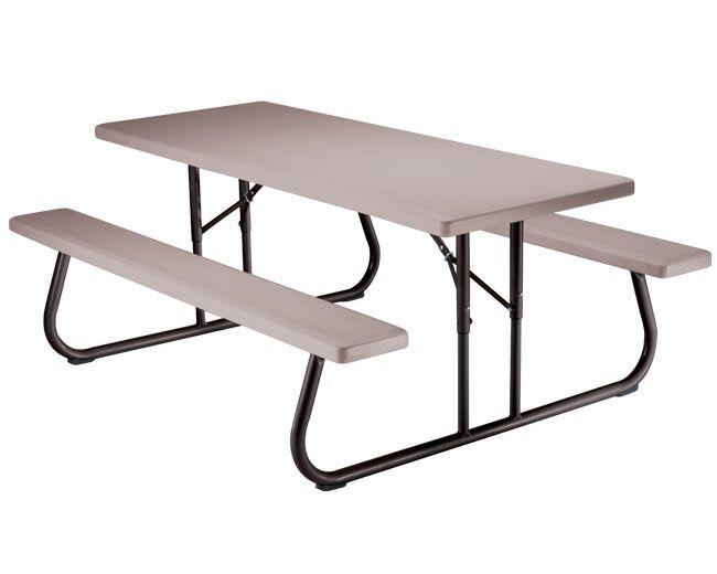 Table de pique-nique pliante 1,83m (6pi) (mastic) - une palette de dix 10