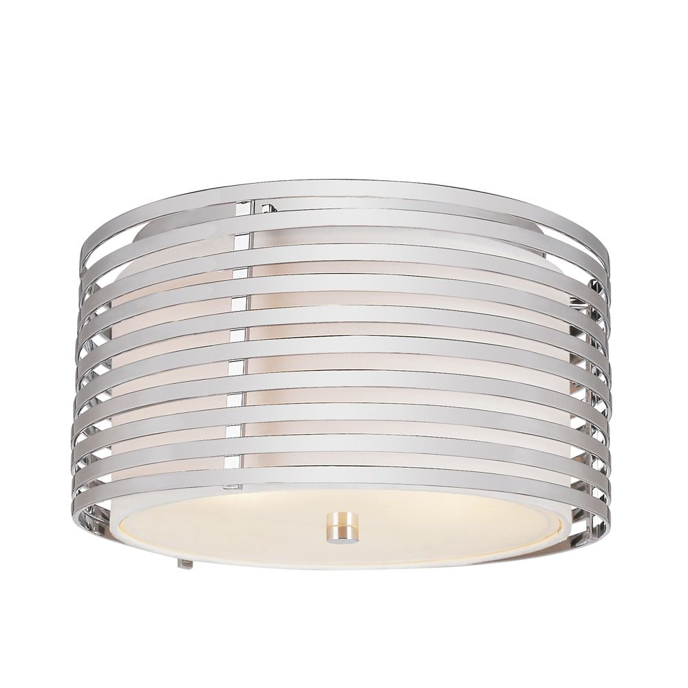 Chrome and Linen Drum 13 inch Flushmount PND-871 Canada Discount