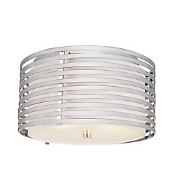 Bel Air Lighting Chrome and Linen Drum 13 inch Flushmount