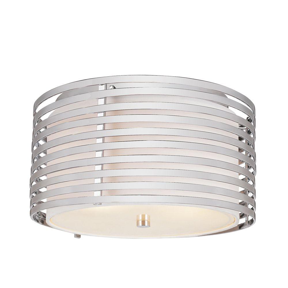 Bel Air Lighting Chrome and Linen Drum 13 inch Flushmount