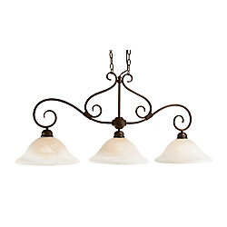 Bel Air Lighting Bronze with Marbled Glass 3 Down Light Island pendant