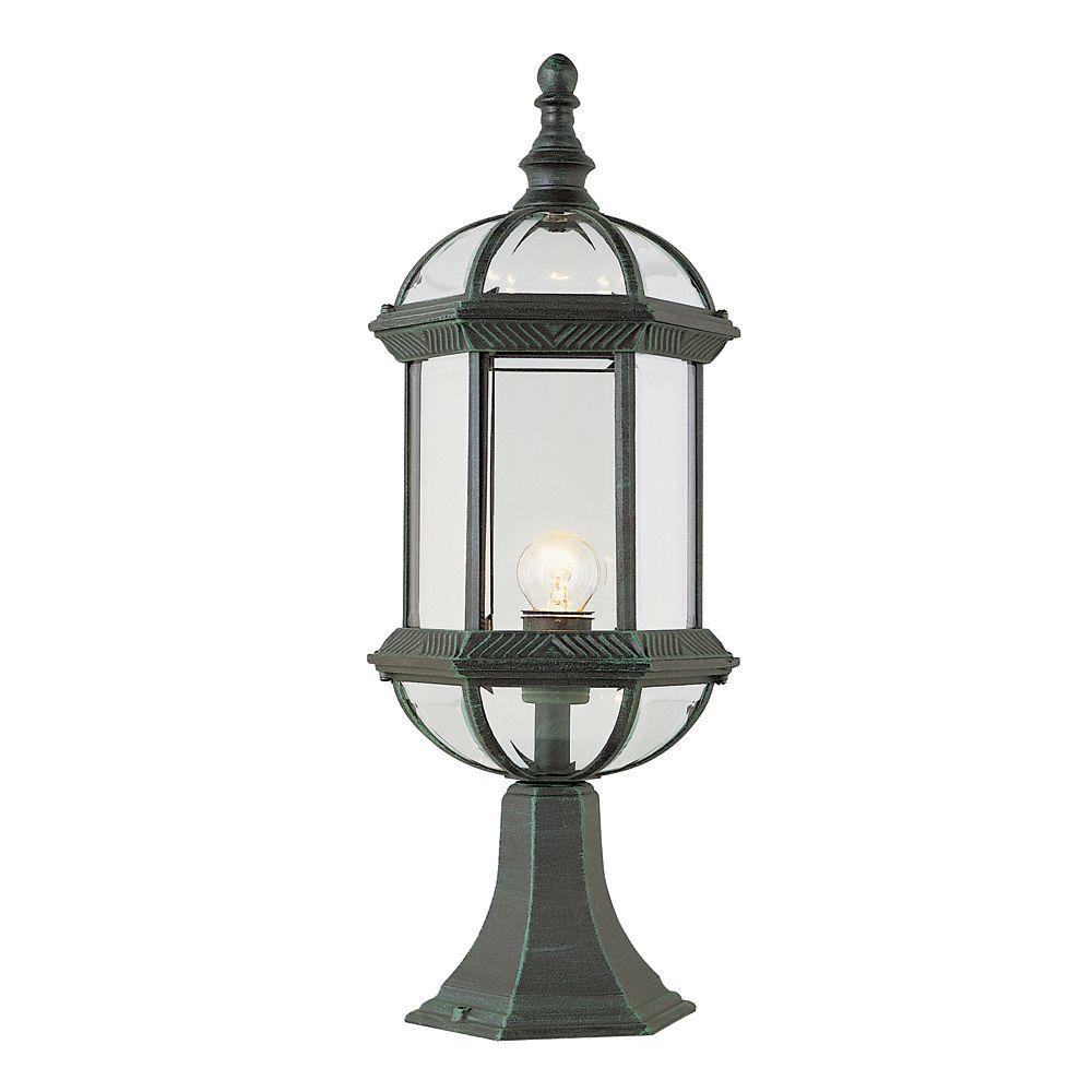Luminaire de lampadaire armature et facettes en verre, gris pin