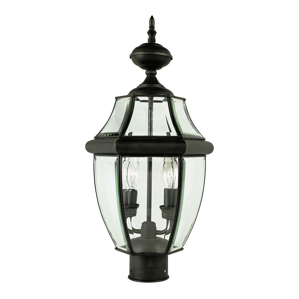 Luminaire de lampadaire, à verre encastré, noir fini bronze