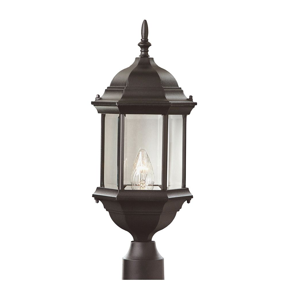 Black with Clear Beveled Glass Post Top Lantern