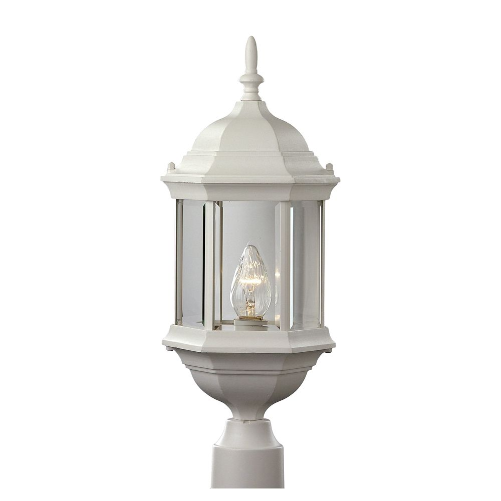 White with Clear Beveled Glass Post Top Lantern