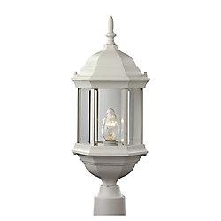 Bel Air Lighting Lanterne de lampadaire avec verre biseauté transparent, blanche