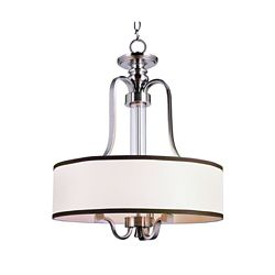 Bel Air Lighting 3-Light 60W Brushed Nickel Hanging Pendant Light Fixture with Linen Shade