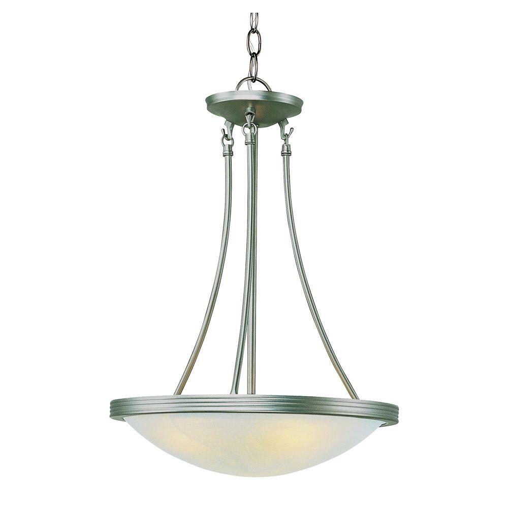 Lampe suspendue verre marbré, nickel, 38,10 cm (15 po)