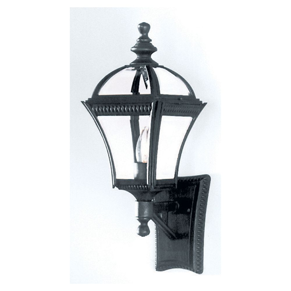 Black Glass Cap Wall Light - Medium