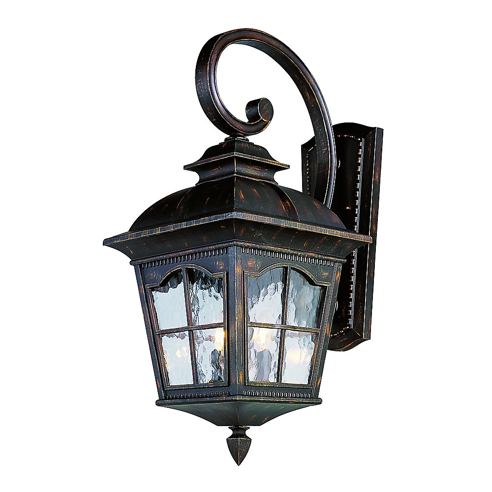 Bostonian 2-Light Antique Rust Outdoor Coach Lantern with Water Glass