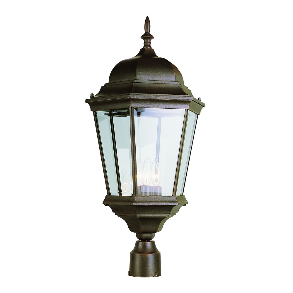 Bel Air Lighting Rust Beveled Glass Post Light