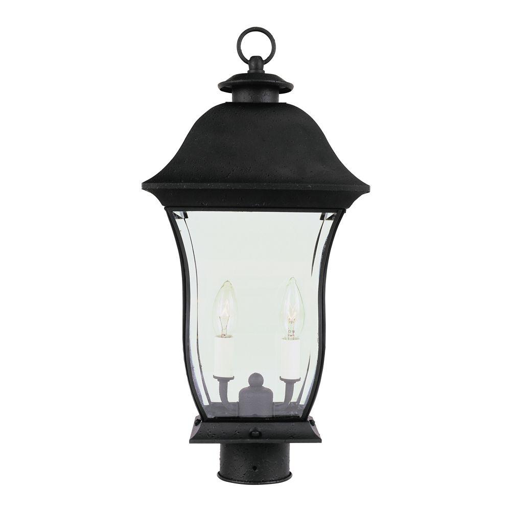 Bel Air Lighting Black Curved Glass Post Light - Large
