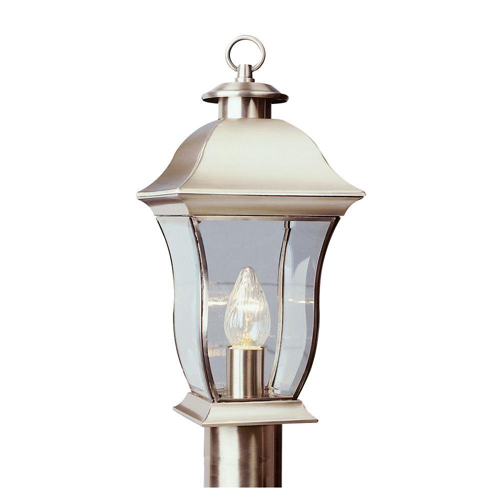 Nickel Curved Glass Post Light - Medium