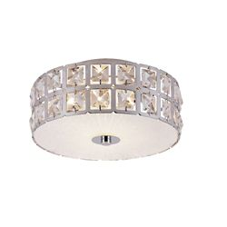 Bel Air Lighting Graniglia 11-inch Crystal and Chrome Flush Mount Fixture
