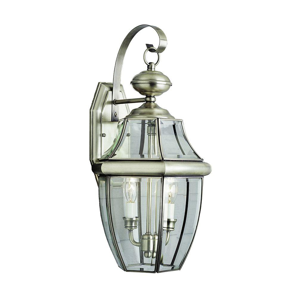 Luminaire de terrasse à verre encastré, nickel, 50,80 cm (20 po)