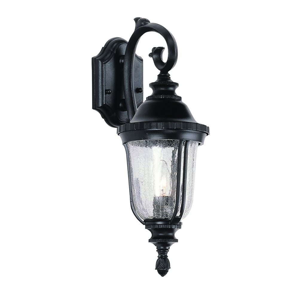 Black with Seeded Glass Wall Lantern